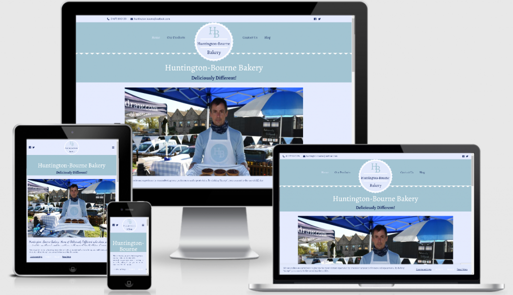 An image displaying the Huntington-Bourne Bakery website on various sizes of screen - mobile, tablet laptop and desktop