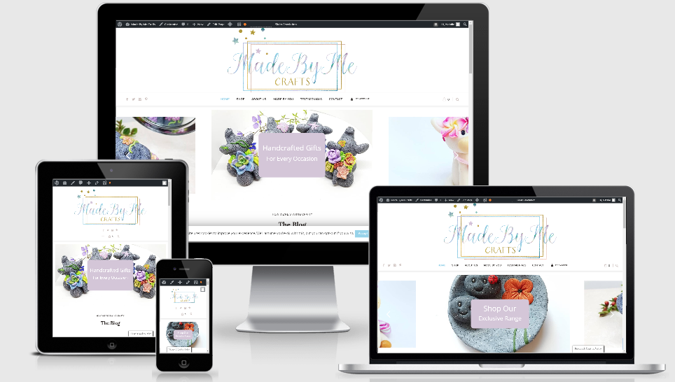 An image displaying the Made By Me Crafts website on various sizes of screen - mobile, tablet laptop and desktop