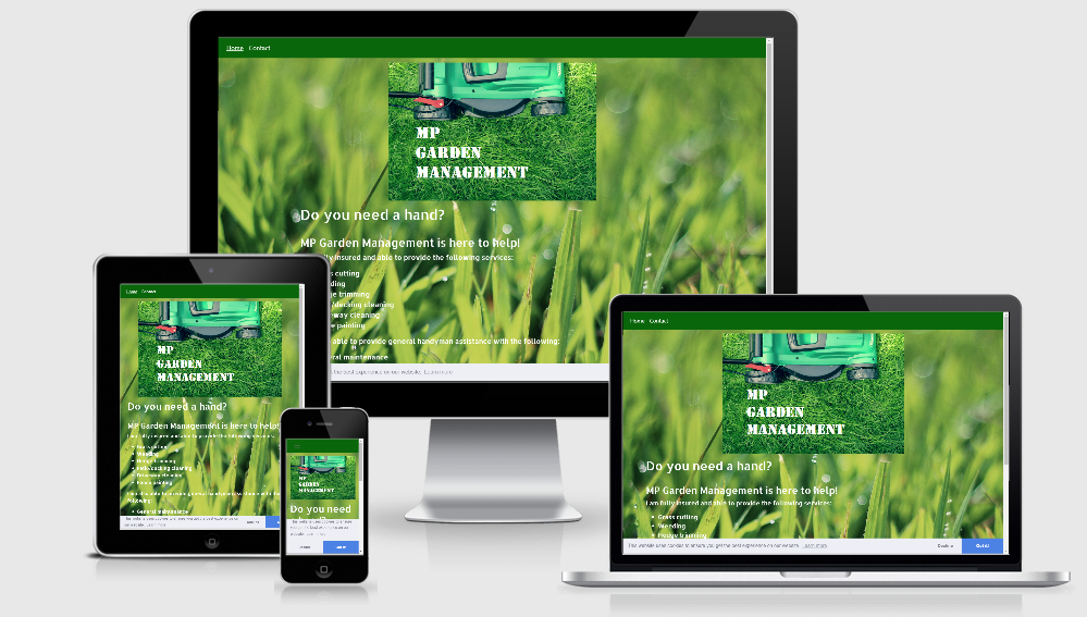 An image displaying the MP Garden Management website on various sizes of screen - mobile, tablet laptop and desktop