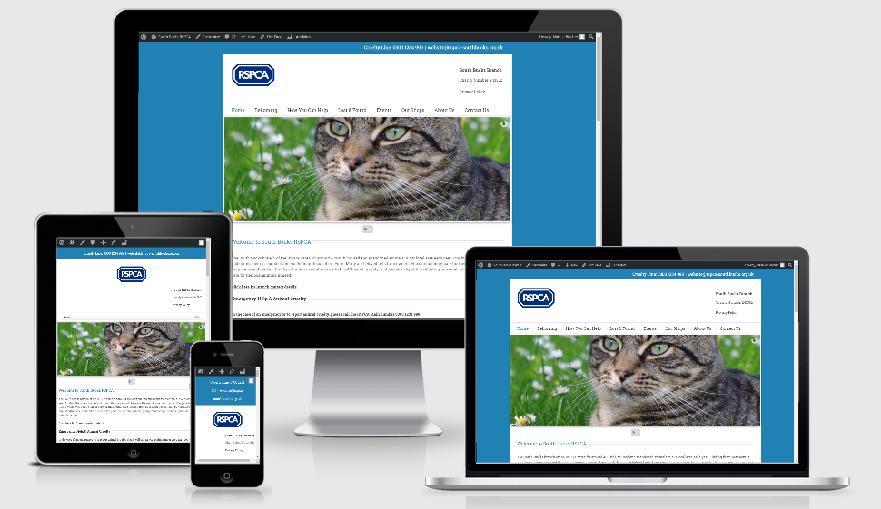 An image displaying the RSPCA South Bucks website on various sizes of screen - mobile, tablet laptop and desktop